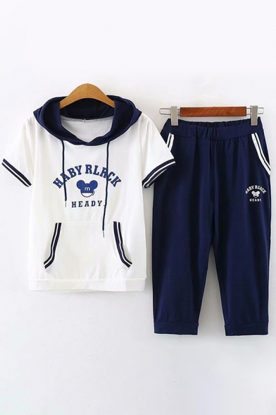 Preppy Girls Short Sleeve Hooded Drawstring HABY RLRCK Graphic Contrasted Pouch Pocket Tee & Elastic Waist Cropped Relaxed Pants, White;navy, LM612442