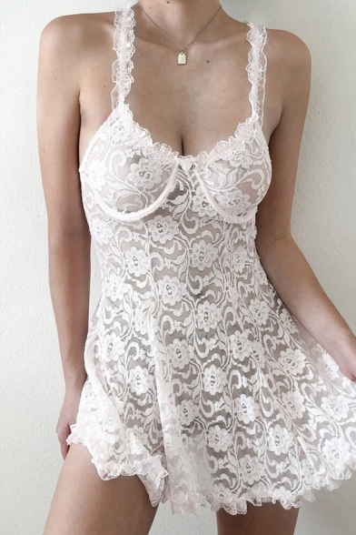 Sexy Solid Color Womens Sleeveless Stringy Selvedge All Over Floral Print Sheer Lace Mini A-Line Cami Dress