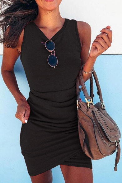 Sexy Womens Sleeveless Round Neck Solid Color Ruched Mini Tulip Tank Dress