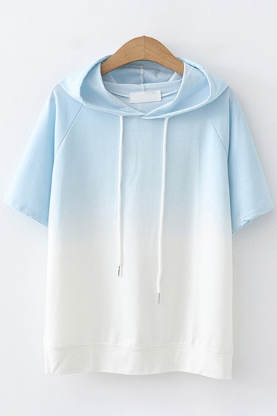 Simple Girls Short Sleeve Drawstring Ombre Color Block Relaxed Fitted Hoodie