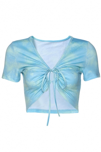 Trendy Womens Short Sleeve V-Neck Tied Front Ruched Fitted Crop T-Shirt in Blue