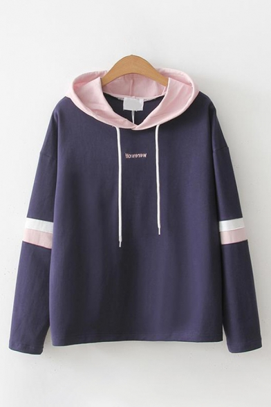 Womens Trendy Long Sleeve Drawstring Letter Embroidery Stripe Contrasted Relaxed Fit Hoodie
