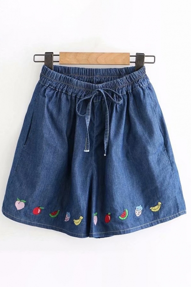 Cute Girls Drawstring Waist Fruit Embroidery Relaxed Fit Denim Shorts