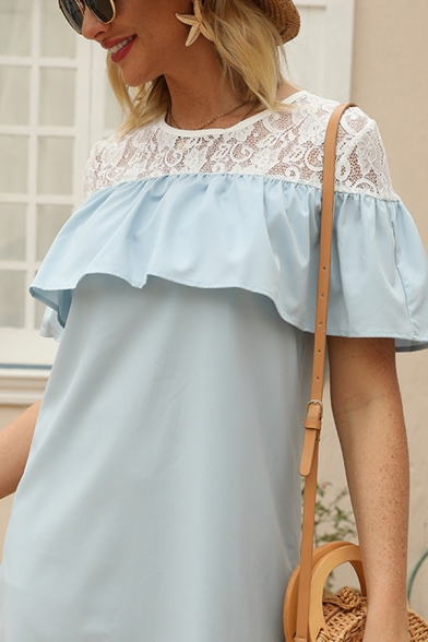 Fancy Girls Short Sleeve Round Neck Lace Patched Ruffled Trim Short Shift Work Dress in Blue
