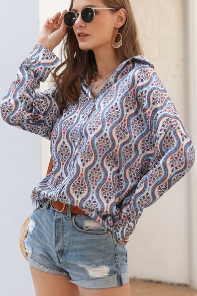 Fancy Ladies Long Sleeve Lapel Neck Button Down All Over Flower Printed Loose Fit Shirt