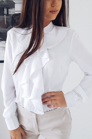 Formal Womens Long Sleeve Stand Collar Button Down Ruffled Trim Plain Relaxed Blouse