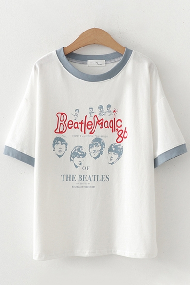 Leisure Womens Short Sleeve Round Neck Letter BEATLE MAGIC Cartoon Graphic Contrasted Pipe Loose Fit T-Shirt
