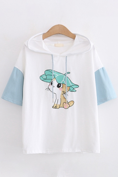 Lovely Girls Short Sleeve Drawstring Hooded Cat Printed Colorblock Relaxed T-Shirt