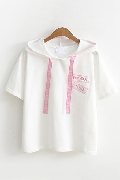 Lovely Girls Short Sleeve Drawstring Letter KEEP GOI NICE Print Relaxed Hoodie