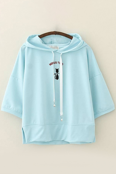 Preppy Girls Three-Quarter Sleeve Drawstring Letter MINUS TWQ Cat Embroidered Slit Side Relaxed Hoodie