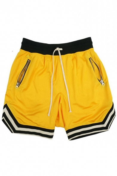 Sportswear Athletic Boys Drawstring Waist Breathable Stripe Print Relaxd Fit Jogger Shorts