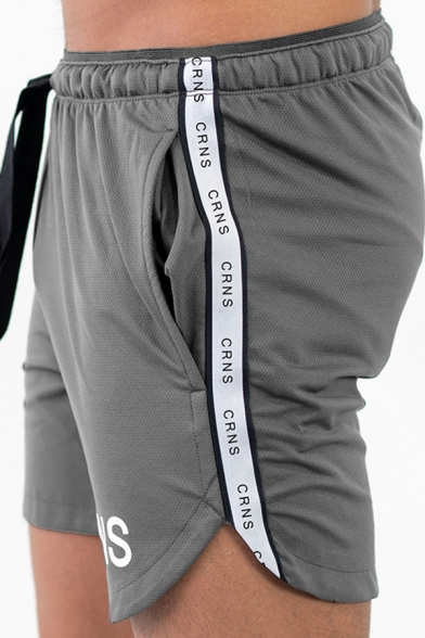 Sportswear Muscle Guys Drawstring Waist Letter CRNS Printed Slim Fitted Shorts