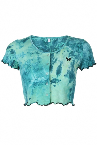 Unique Cool Girls Short Sleeve Round Neck Press Button Up Tie-Dye Butterfly Print Stringy Selvedge Slim T-Shirt in Green