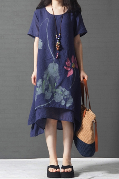 Vintage Casual Womens Short Sleeve Round Neck Floral Printed Asymmetric Hem Bi-Layered Fake Two Piece Long Oversize Dress