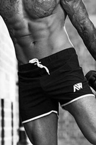 Bodybuilding Athletic Mens Drawstring Waist Letter Print Contrast Piped Quick-Dry Slim Fitted Shorts