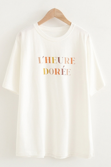 Casual Fashion Womens Short Sleeve Round Neck Letter LHEURE DOREE Print Relaxed Fit T-Shirt