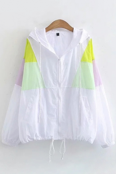 Casual Girls Long Sleeve Color Block Drawstring Hem Loose Fit Sun Protective Jacket