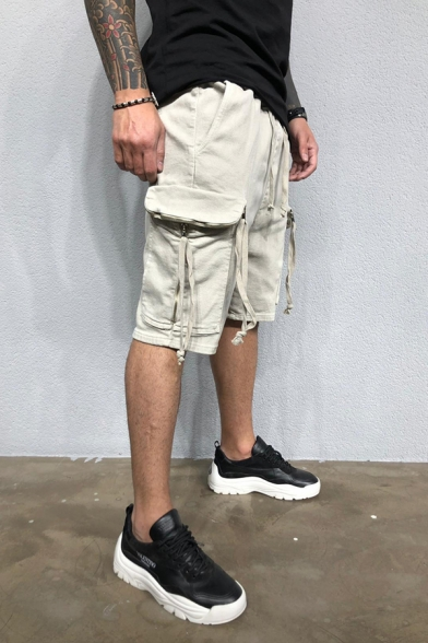 Casual Mens Drawstring Waist Flap Pockets Straps Relaxed Fit Plain Shorts