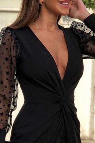 Fashionable Glamorous Ladies Puff Sleeve Surplice Neck Star Print Mesh Panel Twist Front Irregular Hem Mini Bodycon Dinner Dress in Black