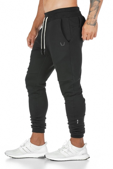 Fitness Sport Mens Drawstring Waist Zipper Detail Cuffed Long Length Plain Relaxed Sweatpants with Towel Loop