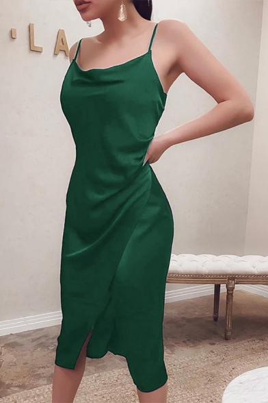 Sexy Womens Sleeveless Cowl Neck Solid Color Slit Front Long Fitted Wrap Cami Dress in Green