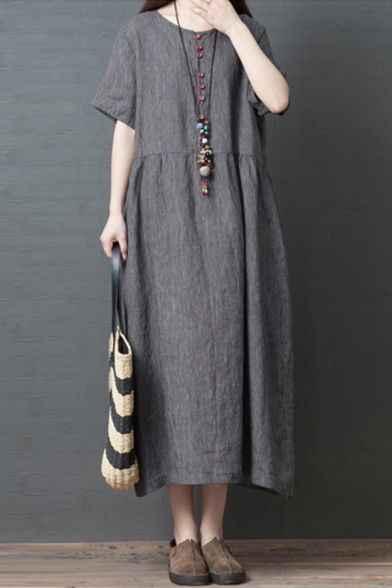 Simple Retro Style Ladies Short Sleeve Round Neck Button Up Linen and Cotton Ruched Plain Maxi Swing Dress LM607532 фото