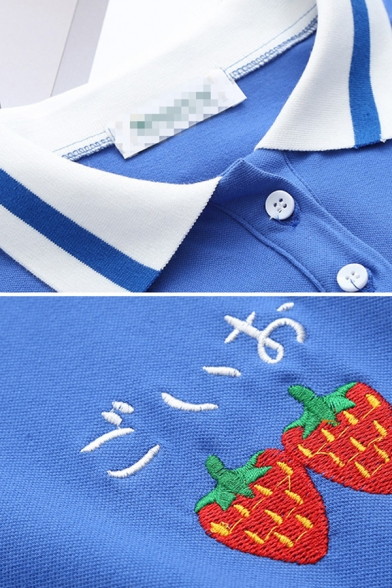 Casual Fashion Girls Short Sleeve Lapel Neck Button Up Japanese Letter Strawberry Embroidered Striped Ruffled Trim Short Swing Polo Dress in Blue