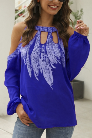 Casual Girls Long Sleeve Cold Shoulder Feather Printed Hollow Out Relaxed Fit Blouse Top
