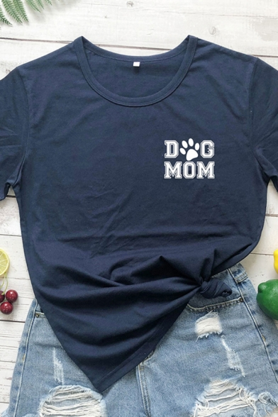 Chic Girls Rolled Short Sleeve Crew Neck Letter DOG MOM Print Fitted T Shirt