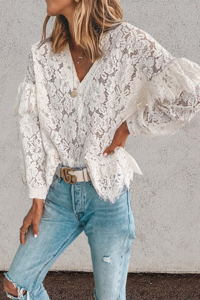 Купить со скидкой Chic Trendy Ladies Long Sleeve V-Neck Floral Embroidery Lace Ruffled Trim Relaxed Fit Blouse Top in