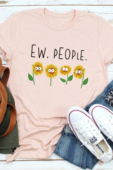 Cool Fashion Roll Up Sleeve Crew Neck Letter EW PEOPLE Sumflower Graphic Regular Fit T-Shirt