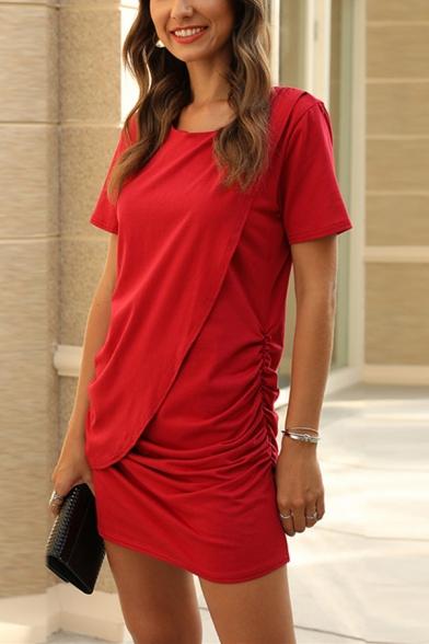 Elegant Ladies Short Sleeve Round Neck Solid Color Patchwork Ruched Mini Shift T-Shirt Dress