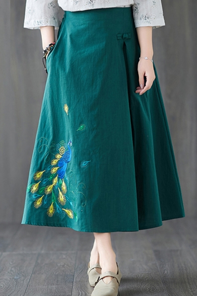 Купить со скидкой Ethnic Vintage Ladies High Rise Peacock Embroidery Frog Button Linen and Cotton Long A-Line Skirt