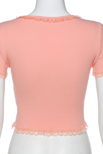 Hot Fancy Girls Pink Short Sleeve Scoop Neck Lace Trim Knit Fitted Crop Tee
