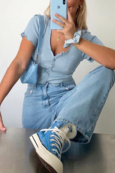 Summer Short Sleeve V-Neck Button Down Stringy Selvedge Knitted Solid Color Fit Cropped T-Shirt for Women