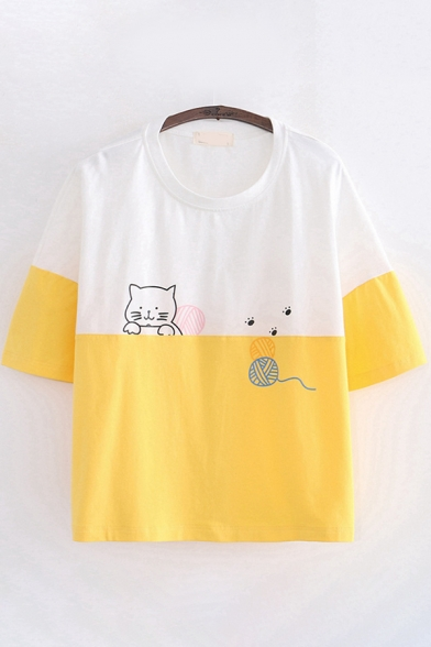 Popular Fashion Girls Short Sleeve Round Neck Cat Printed Color Block Loose Fit T-Shirt