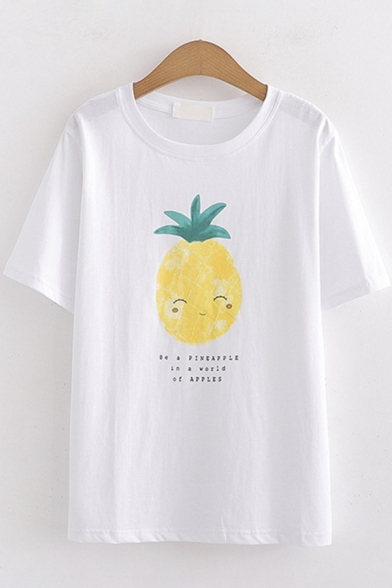 Popular Womens Short Sleeve Round Neck Pineapple Printed Relaxed Fit T-Shirt