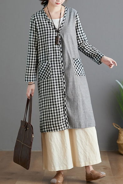 Pretty Ladies Long Sleeve Button Down Plaid Printed Patchwork Slit Side Relaxed Cardigan