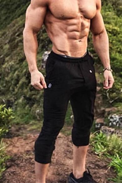Training Guys Drawstring Waist Long Length Slim Fitted Plain Sweatpants