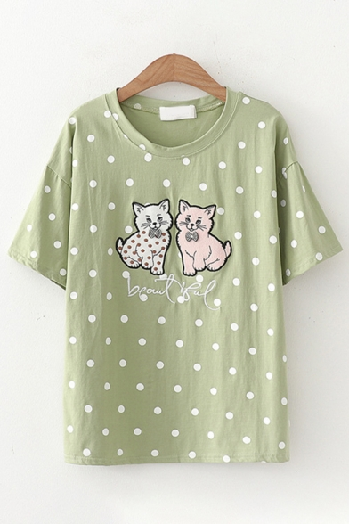 Trendy Womens Short Sleeve Round Neck Cat Embroidery Polka Dot Print Regular Fit Tee Top