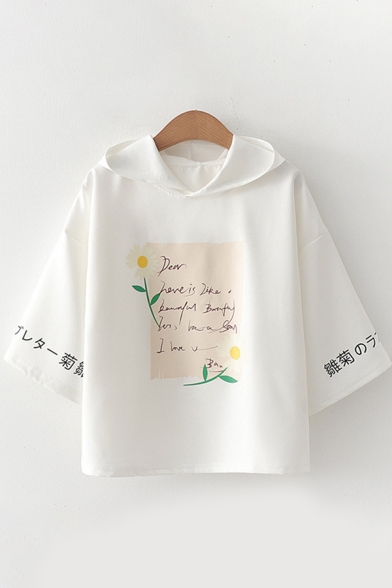 Chic Trendy Girls Bell Sleeves Hooded Letter Print Floral Graphic Colorblock Relaxed T Shirt