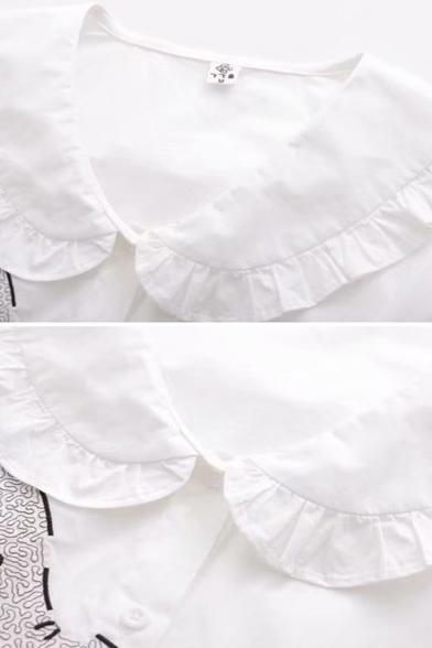 Cute Fancy White Long Sleeve Peter Pan Collar Button Down Elephant Pattern Regular Fit Shirt for Girls