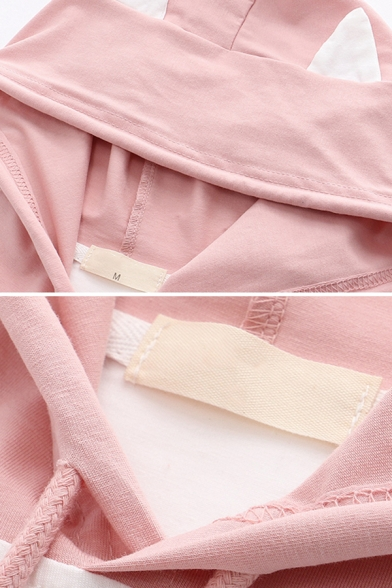 Lovely Girls Short Sleeve Drawstring Chinese Letter Cat Graphic Pouch Pocket Color Block Cat Ears Hoodie