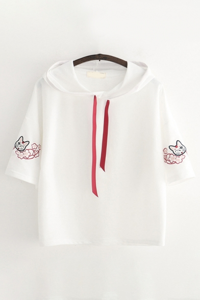 Retro Ladies Short Sleeve Drawstring Cat Floral Embroidered Relaxed Fit Hoodie