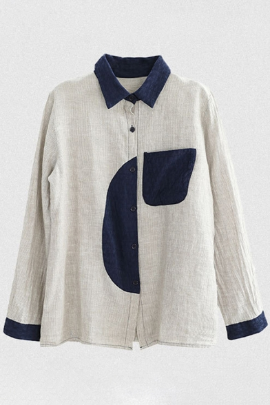 Retro Style Girls Long Sleeve Lapel Collar Button Up Panel Pocket Color Block Linen and Cotton Relaxed Shirt in Beige