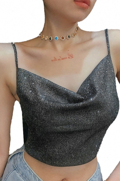 Sexy Girls Sleeveless Cowl Neck Bling Bling Sequins Fitted Crop Black Cami Top for Nightclub