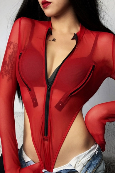 Sexy Ladies Long Sleeve Deep V-Neck Zipper Front Sheer Mesh High Cut Fit Bodysuit in Red