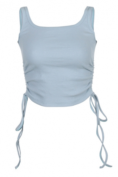 Sexy Ladies Sleeveless Scoop Neck Knitted Drawstring Slim Fit Crop Tank Top in Blue