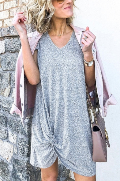 Casual Womens Gray Short Sleeve V-Neck Solid Color Twist Front Short Shift T-Shirt Dress