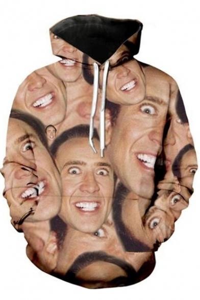Chic Mens Long Sleeve Drawstring All Over Funny Face Pattern Kangaroo Pocket Relaxed Khaki Hoodie